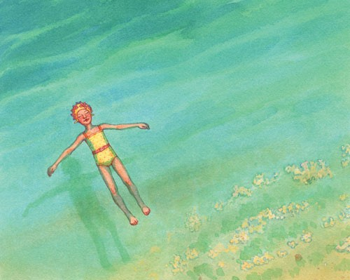 Jennifer Hall Illustration - jennifer hall, jennifer, hall, watercolour, traditional, painted, educational, picture book, commercial, people, children, girls, summer, ocean, sea, seaside, swimming, beach