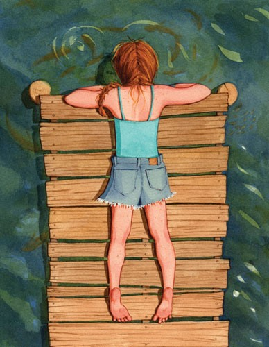 Jennifer Hall Illustration - jennifer hall, jennifer, hall, watercolour, traditional, painted, educational, picture book, commercial, people, children, girls, fiction, summer, water, dock, swimming