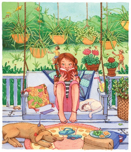 Jennifer Hall Illustration - jennifer hall, jennifer, hall, watercolour, traditional, painted, educational, picture book, commercial, people, children, girls, summer, garden