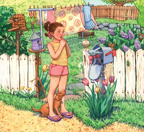 Jennifer Hall Illustration - jennifer hall, jennifer, hall, watercolour, traditional, painted, educational, picture book, commercial, people, children, girls, fiction, gardens, post box, dogs, puppy, puppies, rabbits, bunny, bunnies
