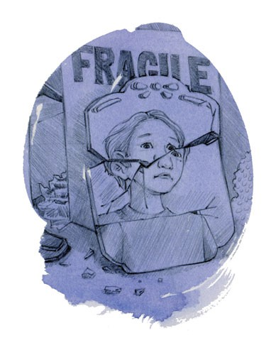 Jennifer Emery Illustration - jennifer emery, jennifer, emery, watercolour, traditional, painted, educational, fiction, commercial, people, children, boys, sad, broken mirror