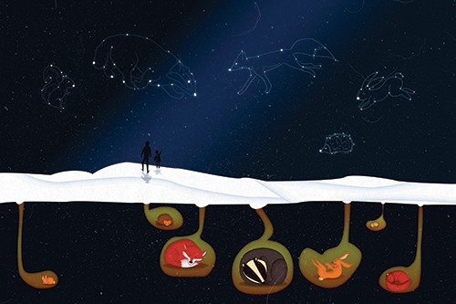 Jennifer Farley Illustration - jennifer, farley, jennifer farley, jennifer farley illustration, photoshop, digital, mass market, commercial, bright, colourful, sky, night, night sky, constellations, stars, animals, earth, mouse, hedgehog, fox, badger, rabbit, squirrel, figures, people,