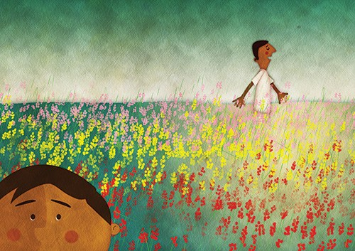 Jennifer Farley Illustration -  Click here to enlarge  jennifer, farley, jennifer farley, jennifer farley illustration, photoshop, digital, mass market, commercial, bright, colourful, nature, field, flowers, grass, man, boy, people, figures, characters, happy, calm, outdoors,