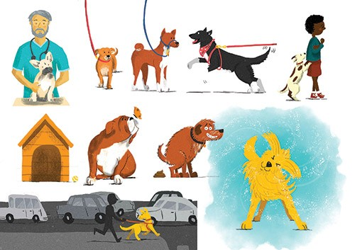 Jennifer Farley Illustration - jennifer farley, photoshop, digital, mass market, commercial, fiction, young reader, YA, trade, colour, colourful, picture book, non-fiction, educational, dog, pets, animals, cute, sweet, walk, vet, happy, shake, shaking,