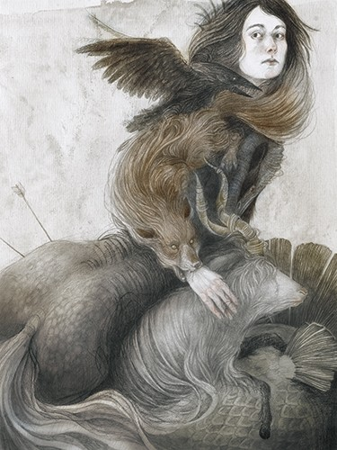 Jana  Heidersdorf Illustration - ana, heidersdorf, jana heidersdorf, illustrator, illustration, painterly, person, figure, photoshop, hand drawn, pencil, coloured pencil, dark, fantasy, adventure, magic, mystery, woman, lady, figure, figurative, animals, horse, fox, YA, young reader
