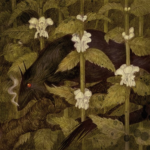 Jana  Heidersdorf Illustration - ana, heidersdorf, jana heidersdorf, illustrator, illustration, painterly, person, figure, photoshop, hand drawn, pencil, coloured pencil, dark, fantasy, adventure, magic, mystery, bird, crow, animal, leaves, plants, texture,YA, young reader
