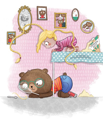 Jen Jamieson Illustration - jen jamieson, illustrator, digital, texture, colour, colourful, picture book, vignette, characters, bear, animal, girl, child, friends, hair, blonde, goldilocks, fairy tale, fairytale, story, spyglass, magnifying glass, mystery, hiding, table, porridge, f