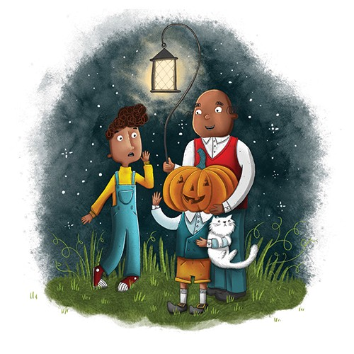 Jen Jamieson Illustration - jen jamieson, illustrator, digital, texture, colour, colourful, picture book, vignette, people, characters, family, trick or treat, halloween, pumpkin, head, costume, dark, sky, stars, light, lamp, funny, cute, cat, pet,