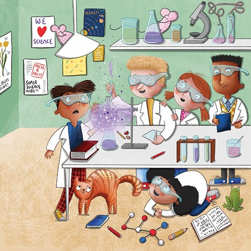 Jen Jamieson Illustration - jen jamieson, illustrator, digital, texture, colour, colourful, picture book, characters, labs science, school, classroom, kids, experiments, cat, table, hiding, beakers, smoke, fun, exciting, learning, educational,