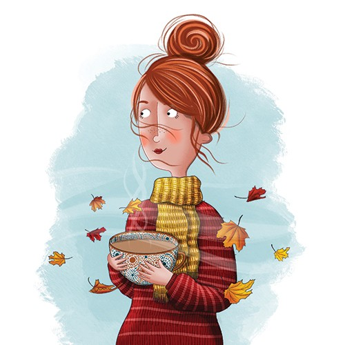 Jen Jamieson Illustration - jen jamieson, illustrator, digital, texture, colour, colourful, picture book, vignette, people, character, woman, autumn, leaves, fall, scarf, cosy, mug, tea, drink, hot drink, jumper, sweater, seasons, seasonal,