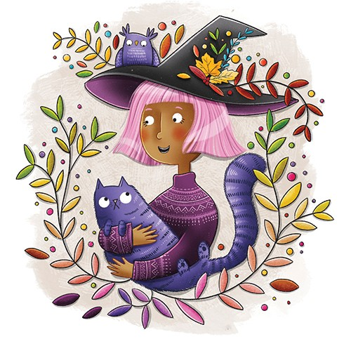 Jen Jamieson Illustration - jen jamieson, illustrator, digital, texture, colour, colourful, picture book, vignette, character, witch, cat, pet, cute, magic, leaves, autumn, fall, halloween, seasonal, pink, hair, woman, cool, fun, owl,