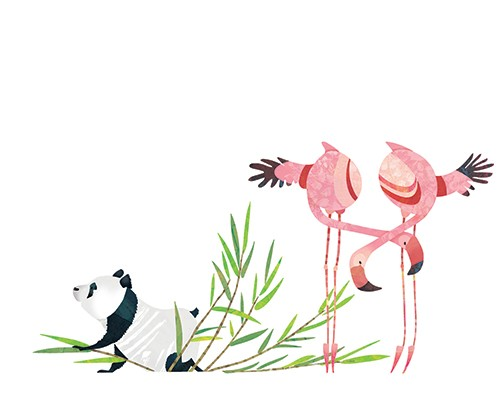 Jonny Lambert Illustration - jonny, lambert, jonny lambert, jonathan, lambert, jonathan lambert, digital, commercial, trade, picture book, fiction, educational,panda, flamingo, animal, YA, young reader, leaves, colourful, colour, texture