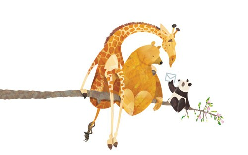 Jonny Lambert Illustration - jonny, lambert, jonny lambert, jonathan, lambert, jonathan lambert, digital, commercial, trade, picture book, fiction, educational, animals, giraffe, panda, bear, cute, sweet, tree, branch, friendship, friends, leaves, flowers, letter, email, colour, colo