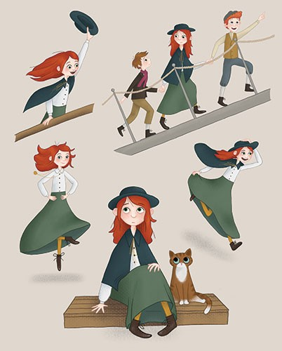 Jo Lindley Illustration - jo, lindley, jo lindley, illustration, picture book, YA, young reader, trade, character, colourful, illustrator, photoshop, historical, characters, figures, girl, annie moore, travelling, boat, dock, wave, hat, cloak, cat, boys, children, dancing, emotion