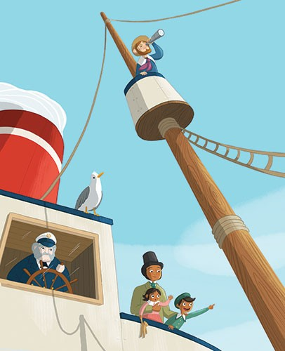 Jo Lindley Illustration - jo, lindley, jo lindley, illustration, picture book, YA, young reader, trade, character, colourful, illustrator, photoshop, boat, deck, travel, captain, mast, historical, sea, ocean, water, passengers, figures, people, man, boy, girl, children, parent, fa