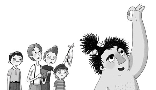 Jo Lindley Illustration - jo, lindley, jo lindley, illustration, picture book, YA, young reader, trade, character, illustrator, photoshop, caveman, classic, stig of the dump, tales, story, character, figures, black and white, b & w, children, kids, boys, jelly baby, sweets, curiou