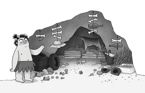 Jo Lindley Illustration - jo, lindley, jo lindley, illustration, picture book, YA, young reader, trade, character, black and white, b & w, illustrator, photoshop, caveman, classic, stig of the dump, tales, story, character, figures, cave, home, rocks, bones, hats, decorations, vas
