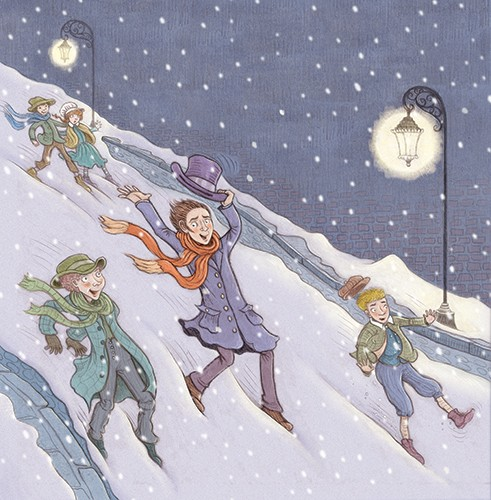 Jennifer Miles Illustration - jennifer, miles, jennifer miles, watercolour, traditional, painted, educational, picture book, commercial, hand drawn, YA, young reader, seasonal, festive, christmas, a christmas carol, people, children, weather, seasons greetings