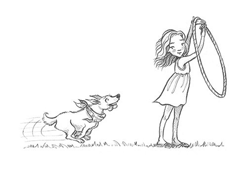 Jennifer Miles Illustration - jennifer, miles, jennifer miles, watercolour, traditional, painted, educational, picture book, commercial, digital, cute, sweet, girl, black and white, b&w, line, mark making, teen, girl, fiction, dog, playing
