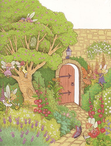 Jennifer Miles Illustration - jennifer, miles, jennifer miles, watercolour, traditional, painted, educational, picture book, commercial, digital, girly, cute, secret, door, wall, tree sweet, fairies, fairy, garden, plants, flowers, nature