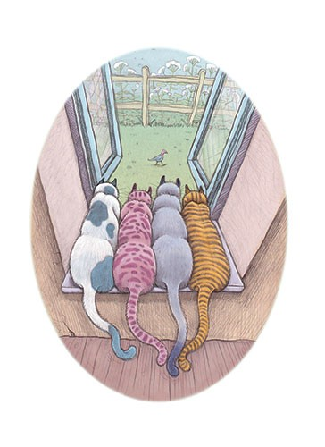 Jennifer Miles Illustration - jennifer, miles, jennifer miles, watercolour, traditional, painted, educational, picture book, commercial, picture book, cats, window, garden, pets