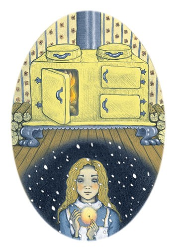Jennifer Miles Illustration - jennifer, miles, jennifer miles, watercolour, traditional, painted, educational, picture book, commercial, digital, girly, cute, sweet, you, girl, cold, winter, night, christmas, season, snow, flame, match, fire, story