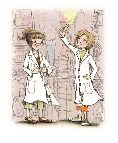 Jennifer Miles Illustration - jennifer, miles, jennifer miles, watercolour, traditional, painted, educational, picture book, commercial, digital, girly, cute, sweet, friends, playing, dark, night, science, lab, coats, success, test tubes, potion,