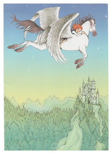 Jennifer Miles Illustration - jennifer, miles, jennifer miles, watercolour, traditional, painted, educational, picture book, commercial, digital, girly, cute, sweet, flying, horse, pegasus, castle, forget, sky, landscape, friends