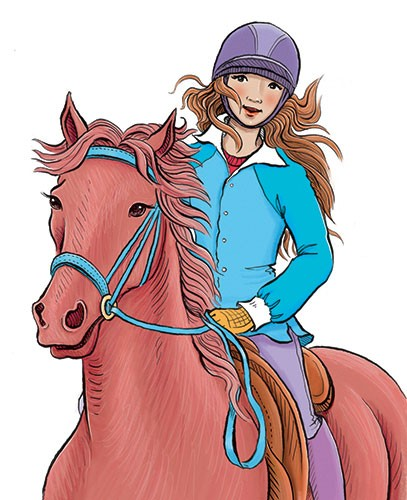 Jennifer Miles Illustration - ennifer, miles, jennifer miles, watercolour, traditional, painted, educational, picture book, commercial, digital, cute, sweet, girl, horse, riding, teen, fiction, helmet, saddle, wind, hair
