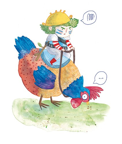 Jessica Martinello Illustration - jessica, martinello, jessica martinello, illustration, hand drawn, painted, digital, novelty, picture book, commercial, educational, sweet, young, fiction, trade, YA, figure, person, boy, jockey, chicken, pet, funny, silly, bright, colourful, grass