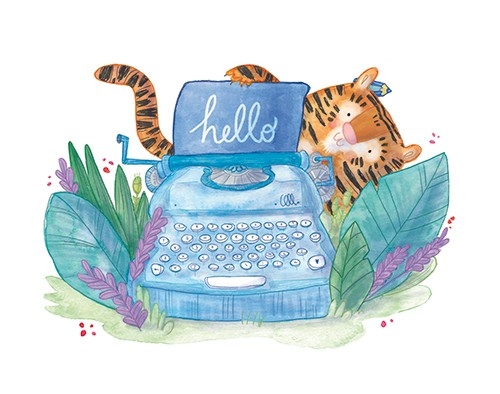 Jessica Martinello Illustration - jessica, martinello, jessica martinello, illustration, hand drawn, painted, digital, novelty, picture book, commercial, educational, sweet, young, fiction, trade, YA, tiger, animal, typewriter, leaves, cute, hello, grass, outdoors, pencil, writing,