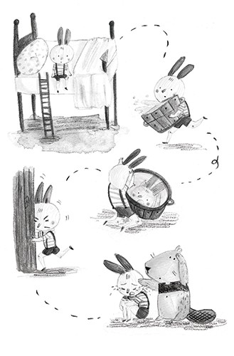 Jessica Martinello Illustration - jessica, martinello, jessica martinello, illustration, hand drawn, painted, digital, novelty, picture book, commercial, educational, sweet, young, fiction, trade, YA, sketch, rabbit, bed, water, bucket, crying, sad, beaver, friends, accident, pain