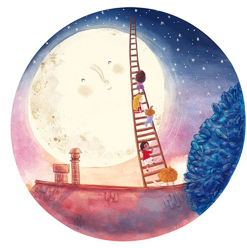 Jessica Martinello Illustration - jessica, martinello, jessica martinello, illustration, hand drawn, painted, digital, novelty, picture book, commercial, educational, sweet, young, fiction, trade, moon, stars, sky, night, sunset, children, boys, girls, ladder, climbing, adventure, house,