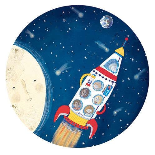Jessica Martinello Illustration - jessica, martinello, jessica martinello, illustration, hand drawn, painted, digital, novelty, picture book, commercial, educational, sweet, young, fiction, trade, moon, stars, space, astronauts, children, boys, girls, rocket, spaceship, earth, planets, ha