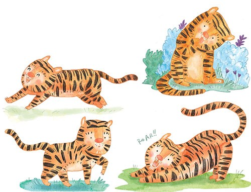 Jessica Martinello Illustration - jessica, martinello, jessica martinello, illustration, hand drawn, painted, digital, novelty, picture book, commercial, educational, sweet, young, fiction, trade, animals, wild, tiger, running, playing, nature, jungle, character, grass, roar, happy,