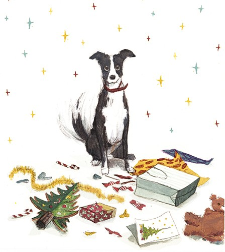 Julia Moscardo Illustration - Júlia Moscardó, illustrator, traditional, pencil, line work, hand drawn, texture, crayon, colour, colourful, christmas, festive, seasonal, dog, pet, animal, cute, presents, paper, wrapping, mess, tree, christmas tree, ornament, bag, sweets, messy, stars,