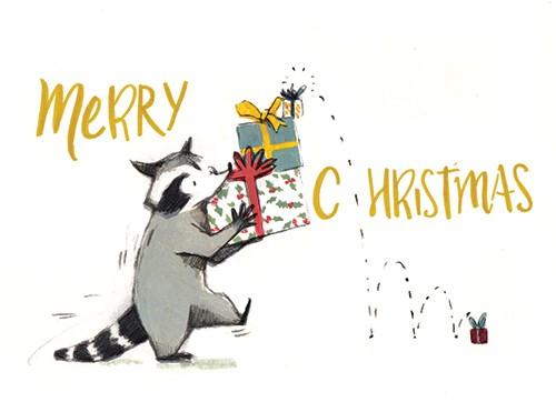 Julia Moscardo Illustration - Júlia Moscardó, illustrator, traditional, pencil, line work, hand drawn, texture, crayon, colour, colourful, christmas, festive, seasonal, racoon, animal, wild, presents, gifts, dropped, merry christmas, wrapping, bow, wrapping paper, cute, sweet,