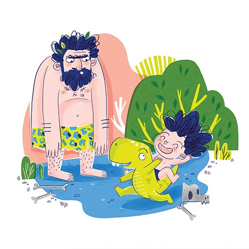 Jess Rose Illustration - jessica rose, digital, colour, colourful, drawing, traditional, pencil, picture book, fiction, sketch, caveman, boy, wild, dinosaur, prehistoric, fun, happy, pet, animal, wild, bones, adventure,