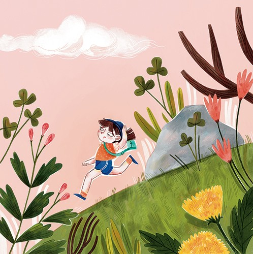 Jess Rose Illustration - jessica rose, digital, colour, colourful, drawing, traditional, pencil, picture book, fiction, character, person, running, hill, adventure, nature, plants, field, flowers, floral, sky, clouds,