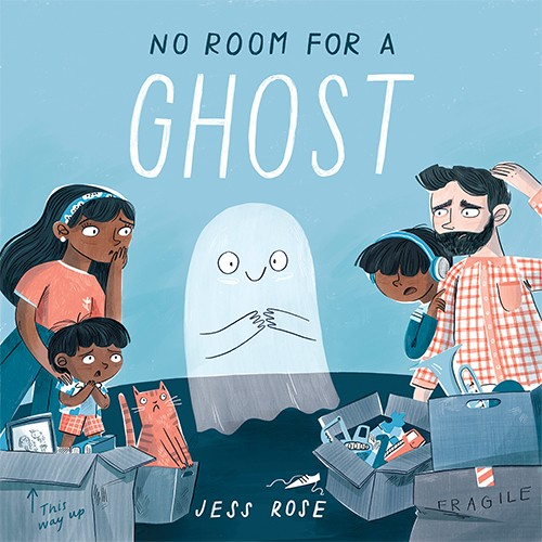 Jess Rose Illustration - jessica rose, colour, colourful, drawing, picture book, fiction, book, cover, story, character, ghost, cute, sweet, spooky, family, moving house, house, home, life event, guest, people, parents, kids, children, friends, packing, boxes, room, adventure,