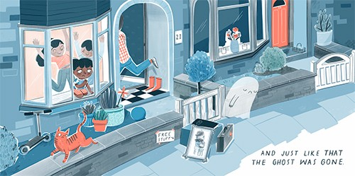 Jess Rose Illustration - jessica rose, colour, colourful, drawing, pencil, picture book, fiction, story, character, ghost, cute, sweet, spooky, halloween, house, home, street, leaving, goodbye, sad, suitcases, luggage, window, family, happy, cat, pet, wall,