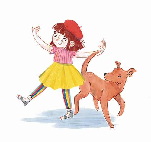 Jess Rose Illustration - jessica rose, digital, colour, colourful, drawing, traditional, pencil, picture book, fiction, character, girl, dog, pet, animal, happy, dance, smile, friends, love, family, cute, sweet, dress, tutu, rainbow, tights, beret, fun,