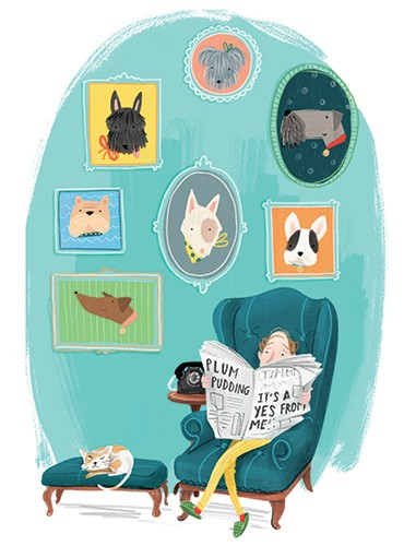 Jessica Rose Illustration - jes, oconnor, jes oconnor, illustrator, illustration, digital, photoshop, trade, picture book, dogs, animals, pets, newspaper, person, cat