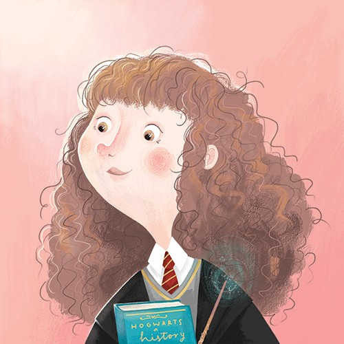 Jessica Rose Illustration - jessica, rose, jessica rose, illustrator, illustration, digital, photoshop, trade, sketch, girl, book, reading, witch, hermione granger, harry potter, figures, people, cute