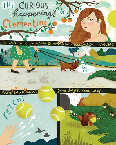 Jojo Clinch Illustration - jojo, clinch, jojo clinch, fiction, picture book, pencil, colour, hand drawn, traditional, digital, texture, girl, woman, dog, pet, walk, balls, tennis, crocodile, eat, fetch, through, clementine, comic strip,