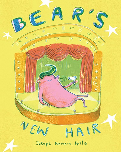 Joseph Namara Hollis Illustration - Joseph, Namara Hollis, Joseph Namara Hollis, illustrator, colour, colourful, pencil, line work, hand drawn, sketch, digital, traditional, quirky, photoshop, bear, animal, wild, hair, wig, book, cover, story, hairdryer, stage, curtains, lights, stars, funn