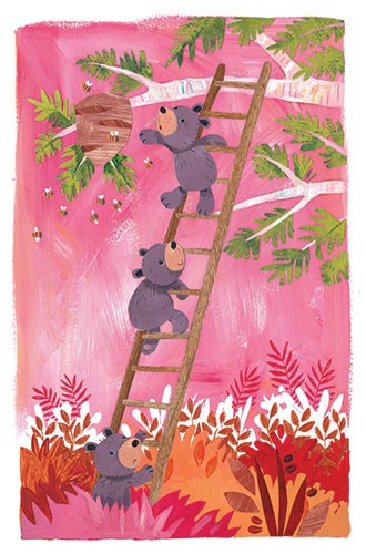 Joanne Partis Illustration - joanne, partis, joanne partis, mixed media, collage, acrylic, paint, trade, bees, hive, commercial, trade, educational, editorial, apple, advertising, greetings cards, picture book, traditional, texture, bear, animal, woods, ladder, climbing