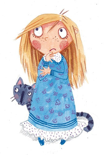 Joanne Partis Illustration - joanne, partis, joanne partis, mixed media, collage, acrylic, paint, trade, commercial, cat, kitten, trade, educational, editorial, apple, advertising, greetings cards, picture book, traditional, texture, girl, pyjamas, sleep