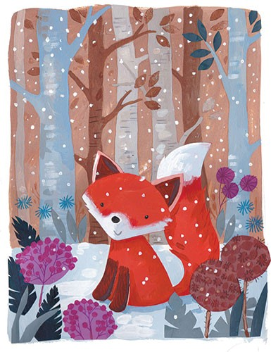 Joanne Partis Illustration - joanne, partis, joanne partis, mixed media, collage, acrylic, paint, trade, commercial, trade, educational, editorial, apple, advertising, greetings cards, picture book, traditional, texture, animals, woods, foxes, trees, flowers, snow, cold, winter