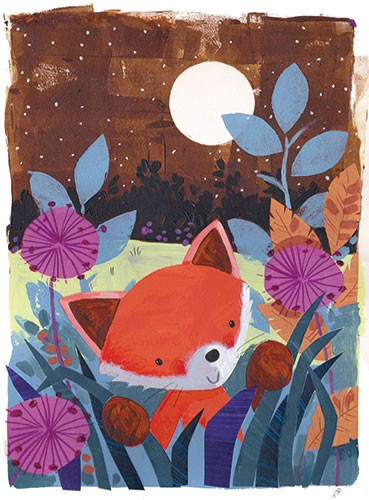Joanne Partis Illustration - joanne, partis, joanne partis, mixed media, collage, acrylic, paint, trade, commercial, trade, educational, editorial, apple, advertising, greetings cards, picture book, traditional, texture, animals, woods, foxes, trees, moon, snow